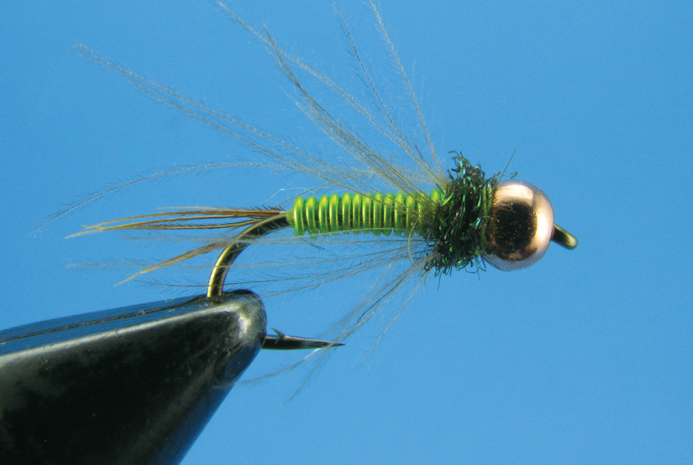 CDC PEARL BUT OLIVE size 12 trout flies