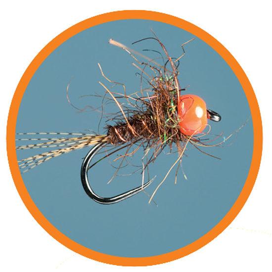 gold bead head sizes 14 to 20 HARES EAR NYMPH orange tinsel rib