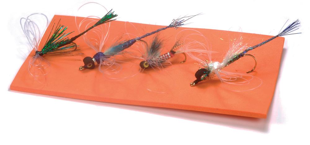3 x Olive Damsel Flies Crystal Hackle Flash Fluorescent Orange Hot Head Size 10